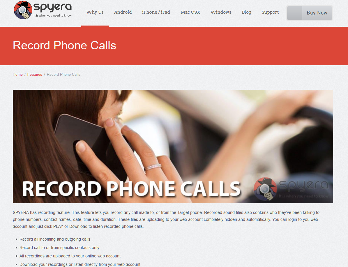 Spyera Call Recording Feature