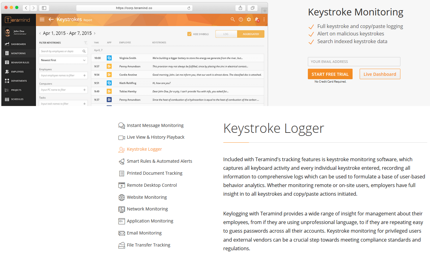 Teramind Keystroke Logger Feature