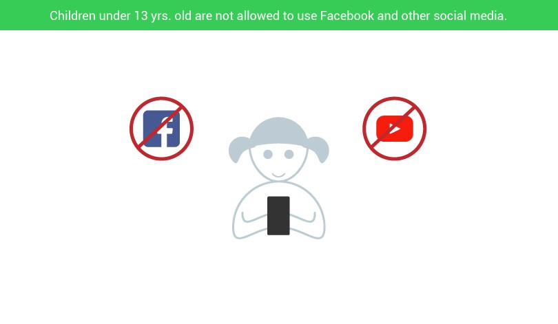 Children under 13 years old are not allowed to use any social media