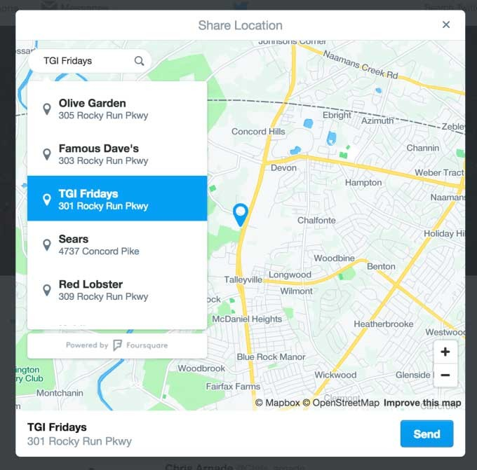 Twitter location sharing connection with a company