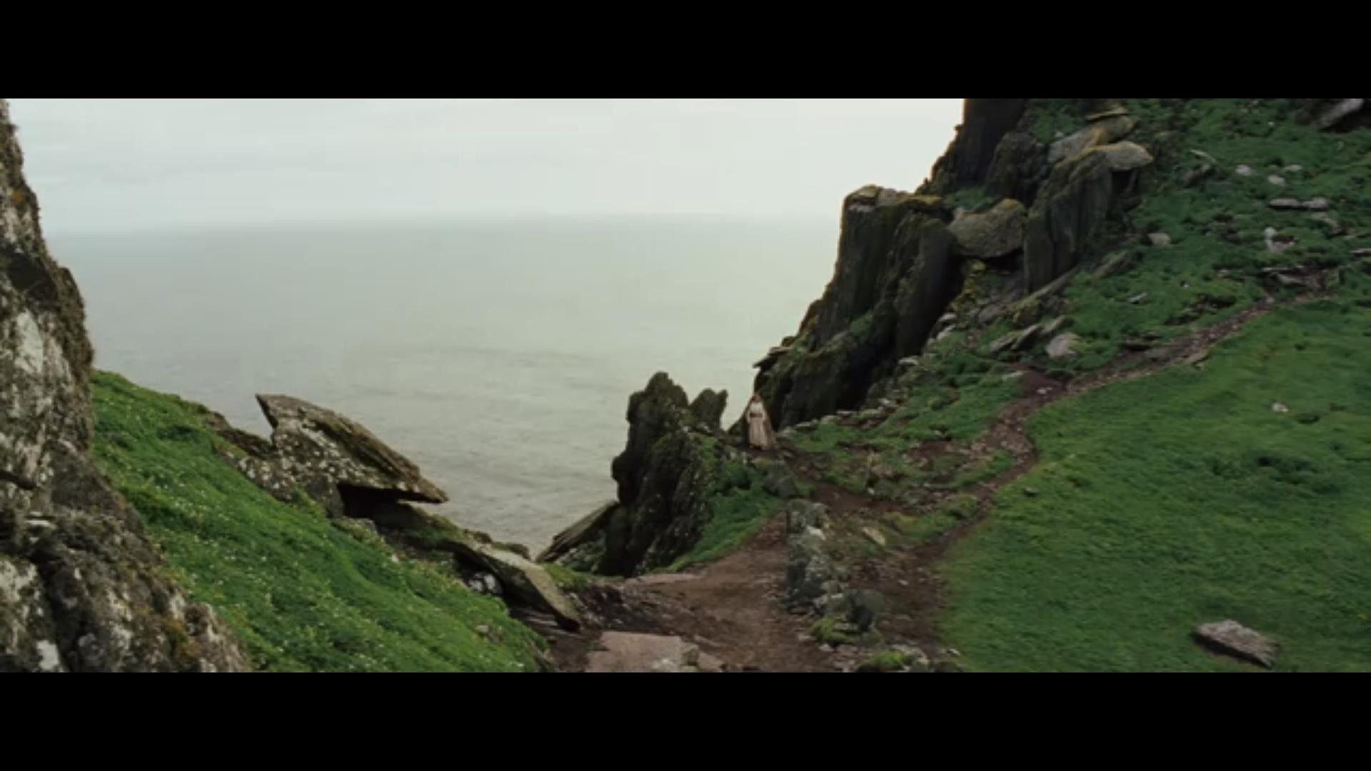 Rey and Luke Skywalker on Skellig Michael